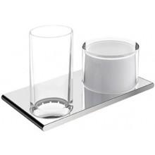 KEUCO EDITION 400 držák se skleničkou 215x120mm, s dávkovačem, sklo, chrom