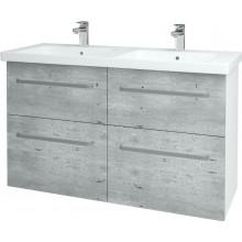 DŘEVOJAS BIG INN SZZ4 125 koupelnová skříň 1205x720x478mm, včetně umyvadla, bílá/beton