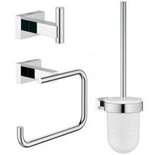 GROHE ESSENTIALS CUBE sada doplňků pro toaletu, 3 v 1, sklo/kov, chrom