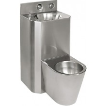 SANELA SLWN28 set WC s umyvadlem rovný, WC na zemi, antivandal, nerez mat