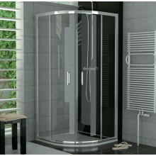 SANSWISS TOP LINE TOPR sprchový kout 900x900x1900mm s dvoudílnými posuvnými dveřmi, čtvrtkruh, matný elox/Durlux Aquaperle