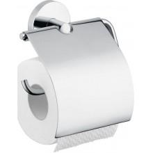 HANSGROHE LOGIS držák na toaletní papír 106mm, s krytem, kartáčovaný nikl 40523820