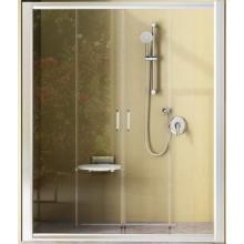 RAVAK RAPIER NRDP4 130 sprchové dveře 1270-1310x1900mm čtyřdílné, posuvné, satin/transparent 0ONJ0U00Z1