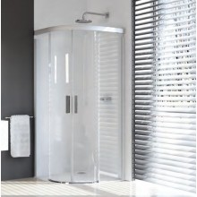Zástěna sprchová čtvrtkruh Huppe sklo Design pure 1000x1000x1900mm bílá/čiré AP