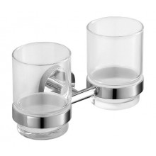 JIKA MIO dvojitý držák se skleněnými pohárky 185x76mm, chrom/transparentní sklo