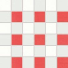 RAKO TENDENCE mozaika 30x30cm, lepená na síťce, bílo-červená