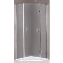 HÜPPE AURA ELEGANCE 1-křídlové dveře 900x900x1900mm s pevnými segmenty, 5-úhelník, upevnění vlevo, stříbrná matná/sklo čiré Anti-Plague