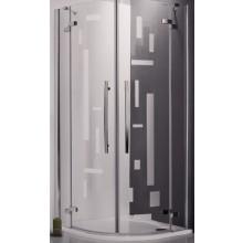 ROLTECHNIK ELEGANT LINE GR2 Design Plus/900 sprchový kout 900x2000mm čtvrtkruhový, s dvoukřídlými otevíracími dveřmi, bezrámový, brillant/potisk
